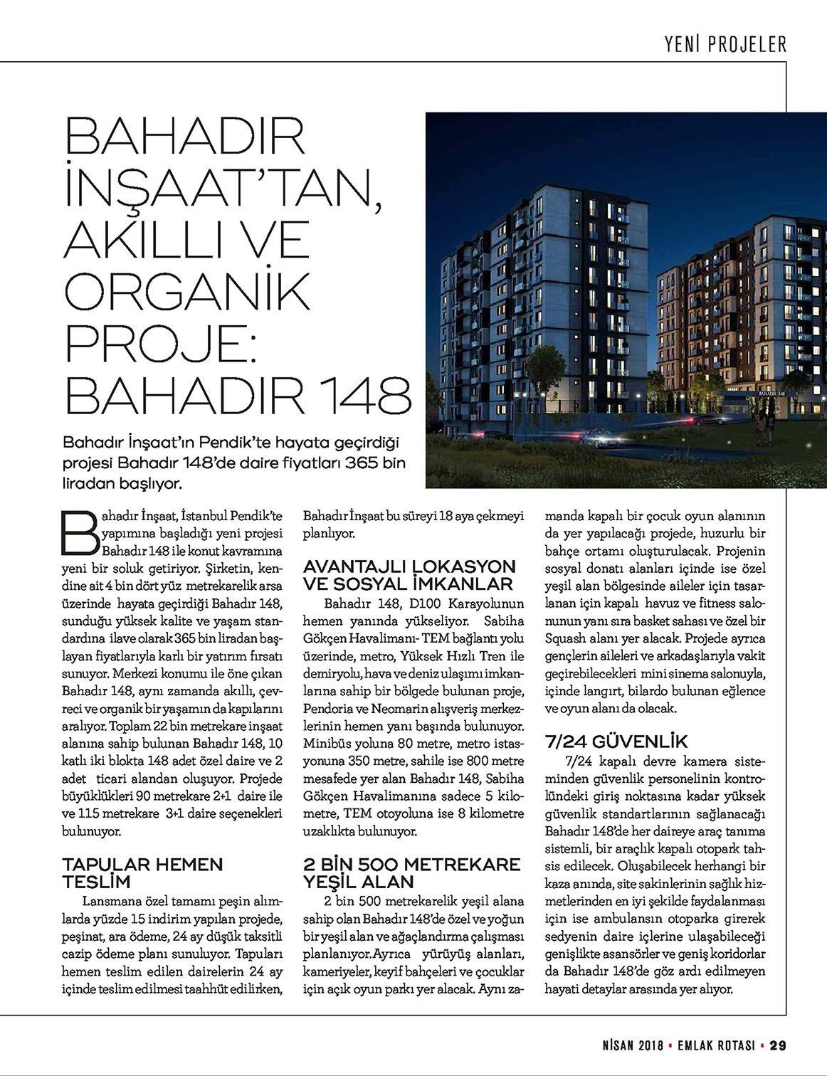 Bahadýr Ýnþaat'tan, Akýllý ve Organik Proje: BAHADIR 148